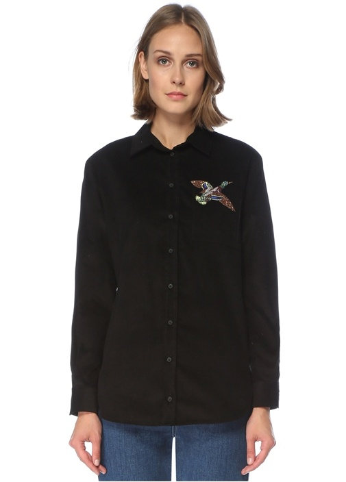 Siyah İşleme Detaylı Kadife Gömlek