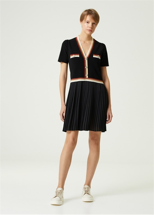 Siyah Şifon Etekli Triko Elbise