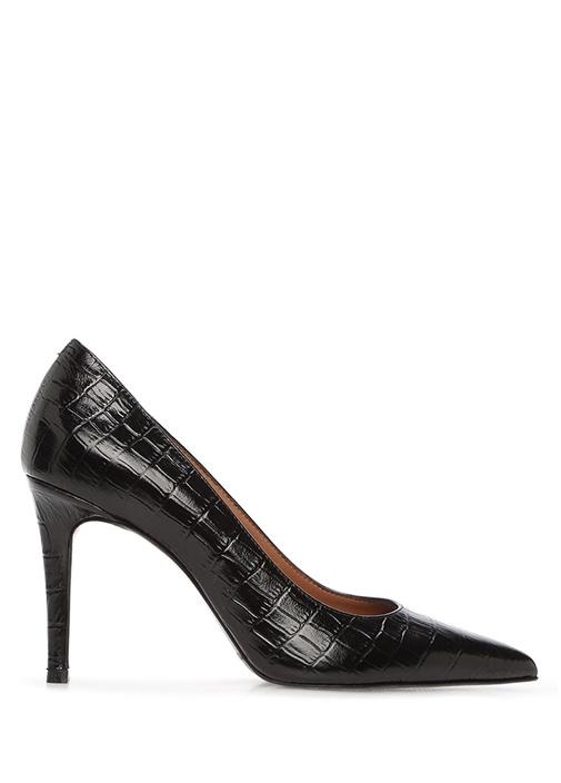 Siyah Krokodil Dokulu Kadın Deri Stiletto