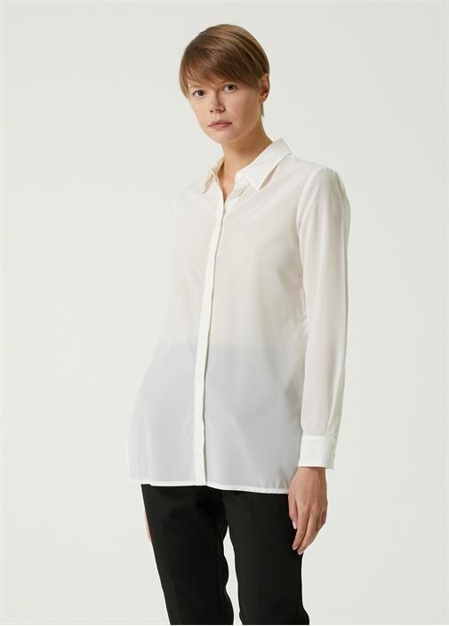 Beyaz Yırtmaç Detaylı İpek Gömlek
