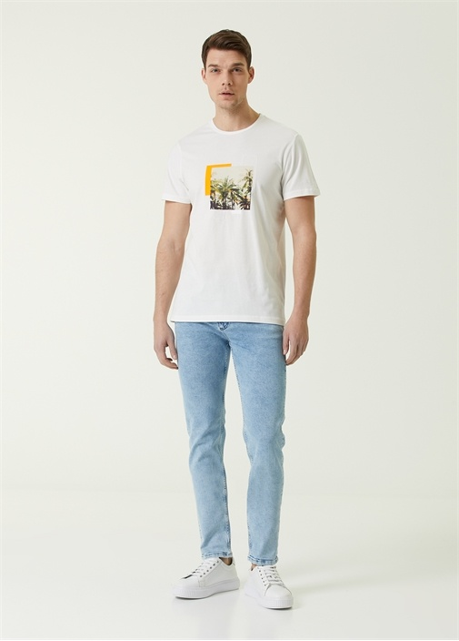 Slim Fit Mavi Dekoratif Dikişli Jean Pantolon