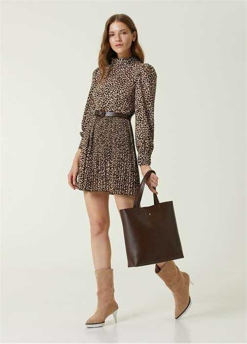 Dik Yaka Leopar Desenli Mini Elbise