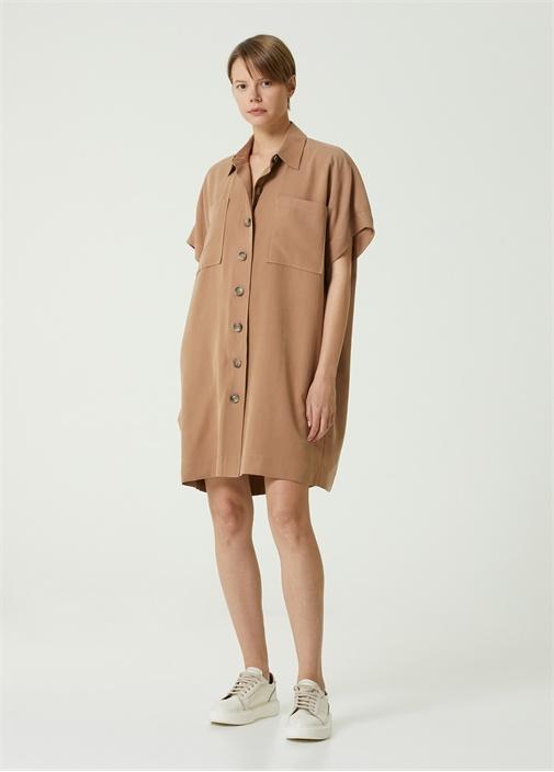 Bej Polo Yaka Dökümlü Mini Gömlek Elbise