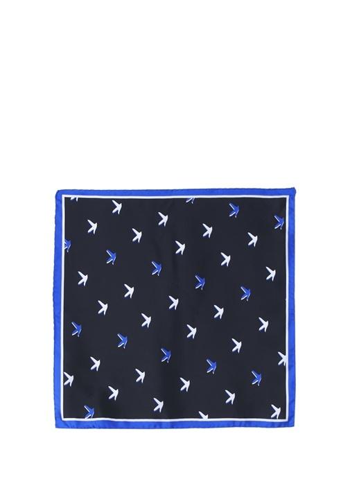 Siyah Kuş Desenli 50x50 cm Kadın İpek Eşarp