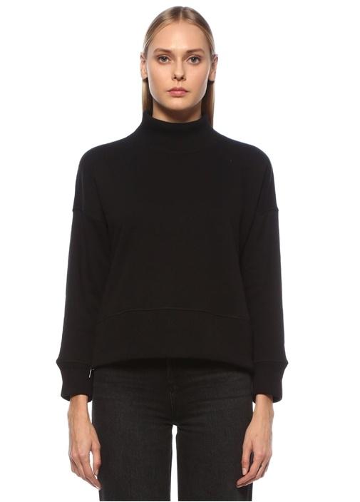 Siyah Dik Yaka Yanları Fermuarlı Sweatshirt