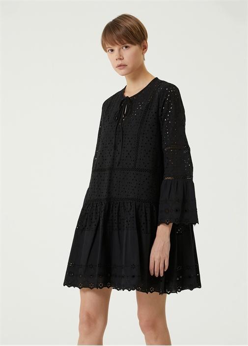 Siyah Yakası Bağcıklı Mini Elbise