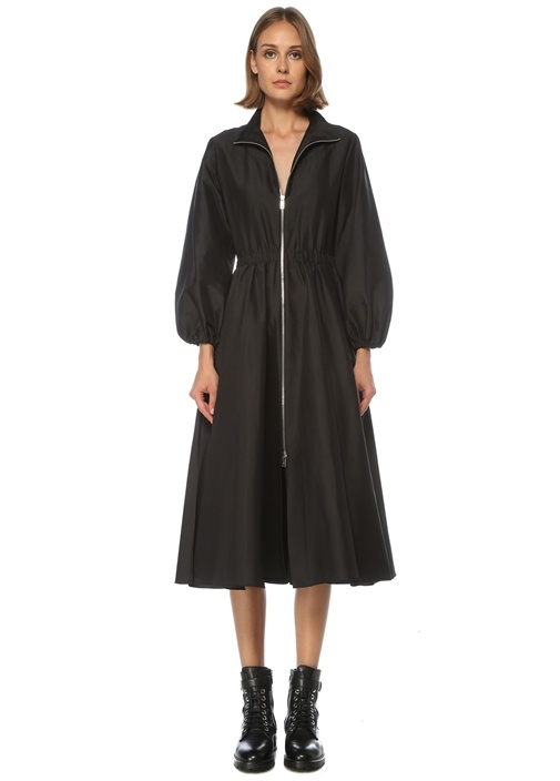 Siyah Fermuarlı Midi Tafta Kloş Elbise