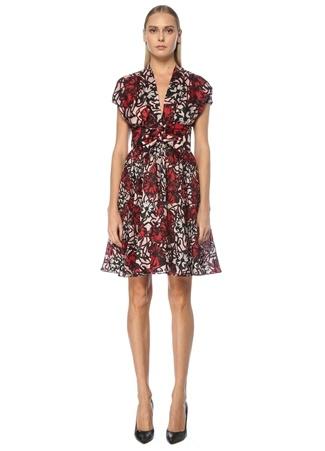 Alaia Kadın Kırmızı V Yaka Çiçekli Mini İpek Elbise 38 IT
