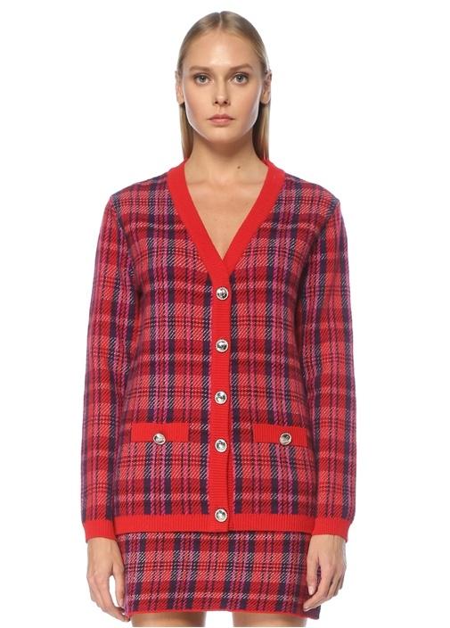 Kırmızı V Yaka Tweed Dokulu Ekoseli Yün Hırka