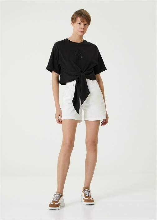 Siyah Payetli Bağlama Detaylı T-shirt