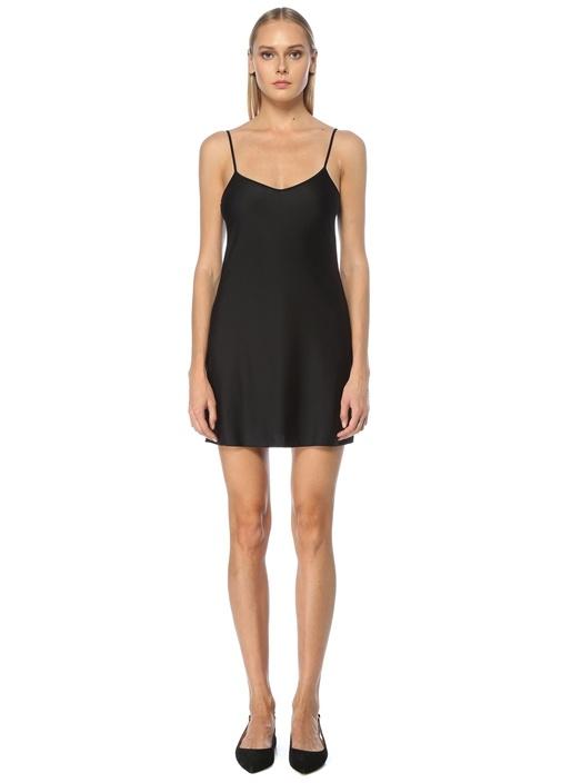 Siyah İnce Askılı Mini İç Elbise
