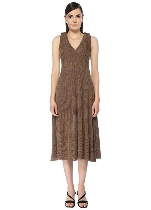 Kahverengi V Yaka Simli Midi Triko Elbise