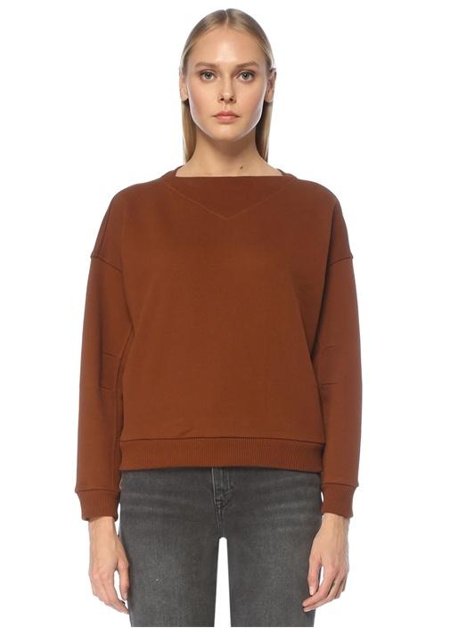 Tarçın Kayık Yaka Düşük Kol Sweatshirt