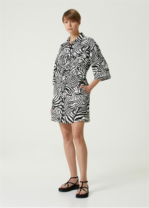 Zebra Desenli Mini Keten Gömlek Elbise
