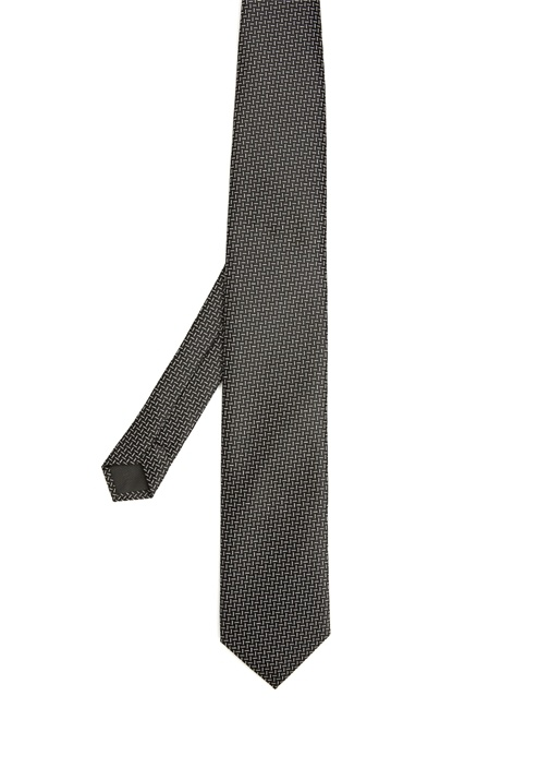 Siyah Çizgi Desenli Kravat