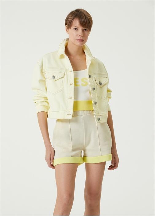 Sarı Polo Yaka Denim Ceket