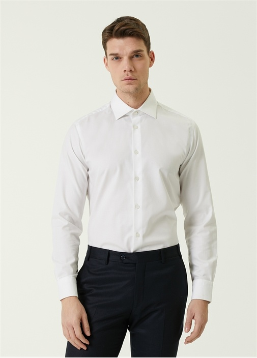 Slim Fit Beyaz Non İron Gömlek