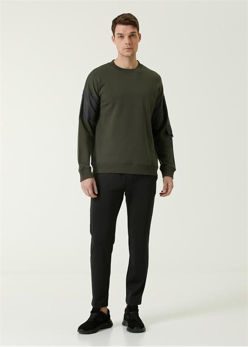 Haki Garni Detaylı Logolu Oversized Sweatshirt