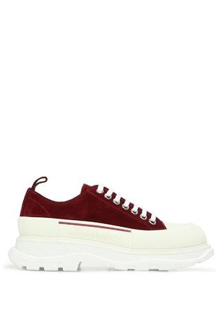 Alexander McQueen Kadın Bordo Deri Sneaker Beyaz 35 EU