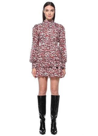 Network Kadın Kırmızı Siyah Dik Yaka Desenli Mini Elbise 42 EU