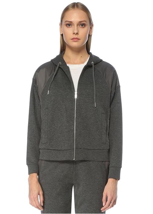 Antrasit Kapüşonlu Garni Detaylı Sweatshirt