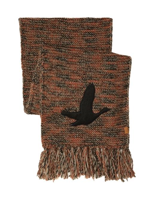 Turuncu Püsküllü Kuş Patchli Kadın Atkı