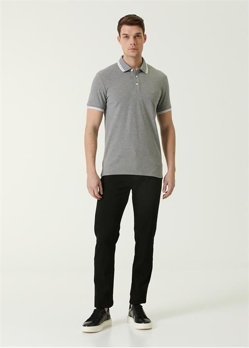 Slim Fit Gri Polo Yaka Logolu T-shirt