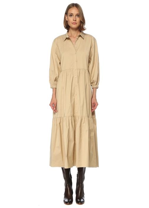 Bej Balon Kol Midi Tafta Gömlek Elbise