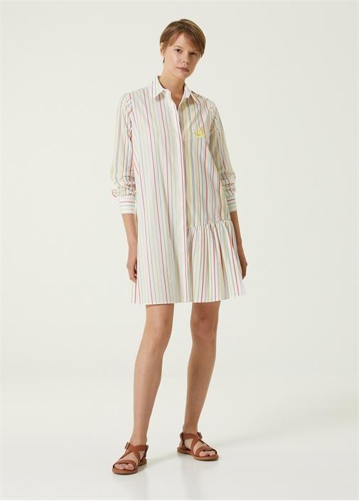Renkli Çizgili Mini Poplin Gömlek Elbise