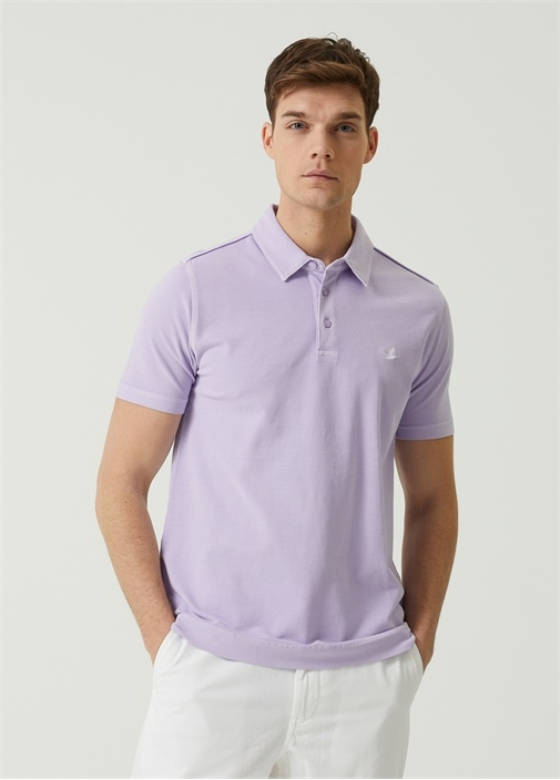 Comfort Fit Lila Polo Yaka T-shirt