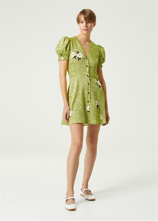 Yeşil Mikro Desenli Çiçek Baskılı Mini Elbise