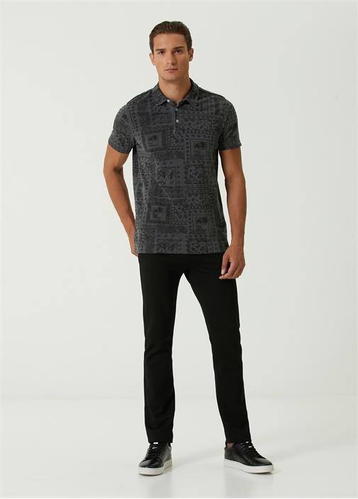 Comfort Fit Polo Yaka Etnik Desenli T-shirt