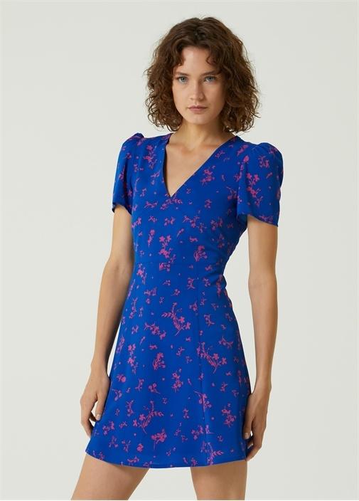 Mavi V Yaka Çiçekli Mini Elbise