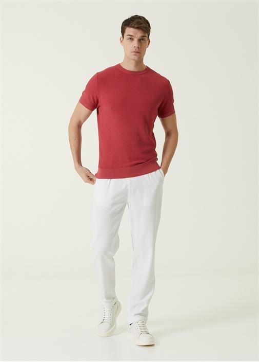 Beyaz Beli Kordonlu Duble Paça Pantolon