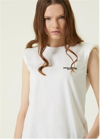 Dsquared2 Kadın Beyaz Logo Baskılı Vatkalı T-shirt S EU