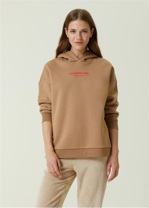 Camel Kapüşonlu Baskılı Sweatshirt