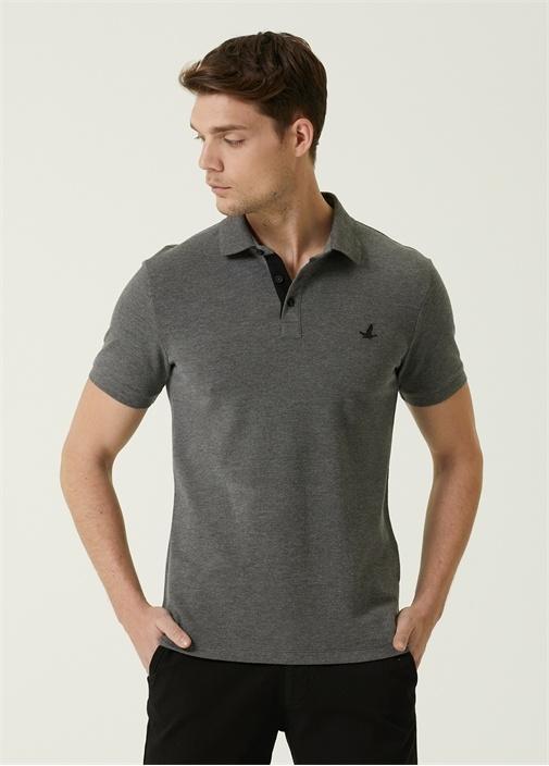Slim Fit Antrasit Melanj Polo Yaka T-shirt
