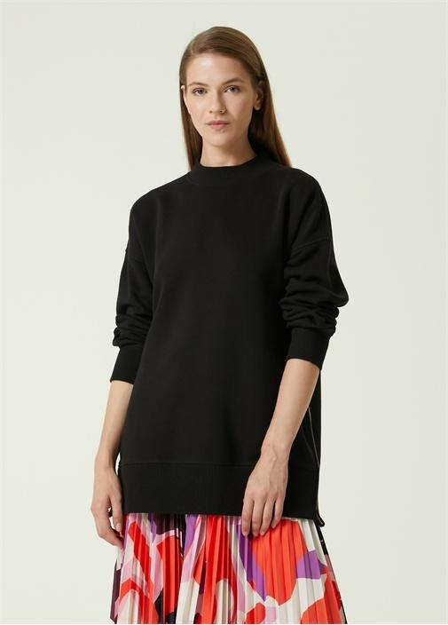 Siyah Dik Yaka Yanı Fermuarlı Sweatshirt