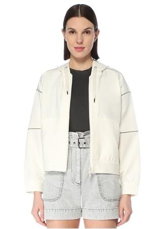 Brunello Cucinelli Kadın Beyaz Kapüşonlu Fermuarlı Şeritli Sweatshirt S EU