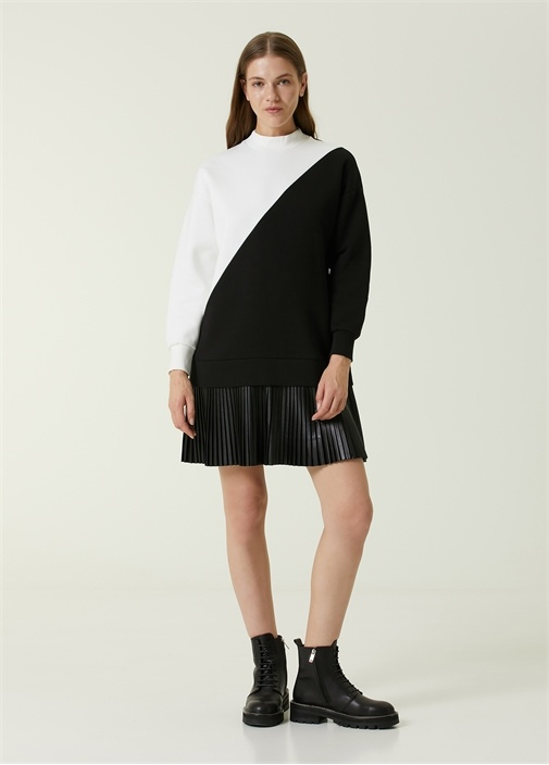 Siyah Beyaz Bloklu Deri Garnili Mini Elbise