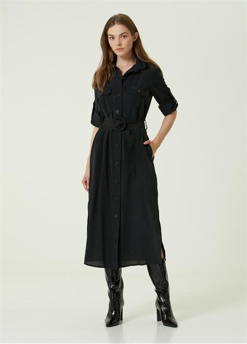 Siyah Kemerli Midi İpek Gömlek Elbise