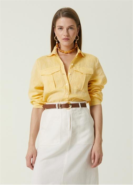 Sarı Çift Cepli Rahat Keten Gömlek