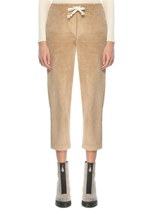Kamel Beli Bağcıklı Kadife Pijama Pantolon