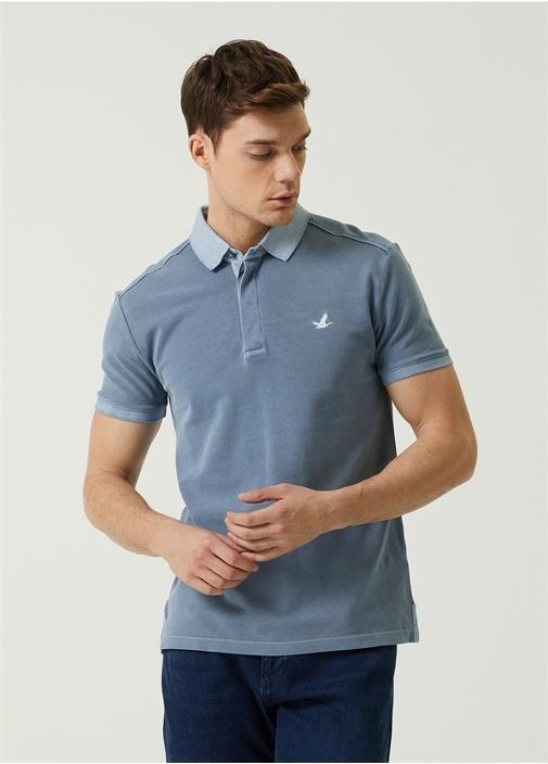 Slim Fit Gri Mavi Polo Yaka T-shirt