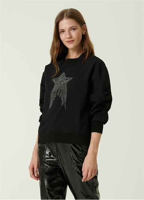 Siyah Yıldız İşlemeli Bluz