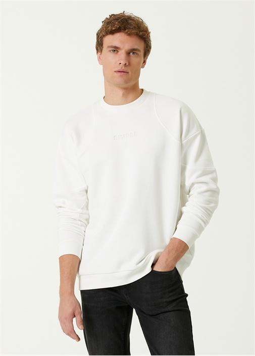 Simple Beyaz Bisiklet Yaka Sweatshirt