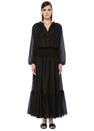 Bird & Knoll Kadın Clemence Siyah V Yaka Fırfırlı Maksi Elbise S EU