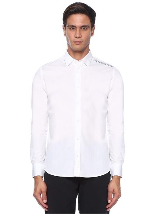 Slim Fit Beyaz Slogan Baskılı Gömlek