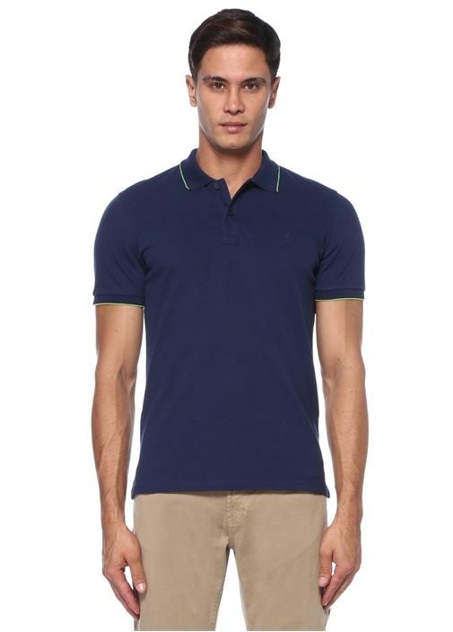 Comfort Fit Lacivert Polo Yaka Pike Dokulu T-shirt