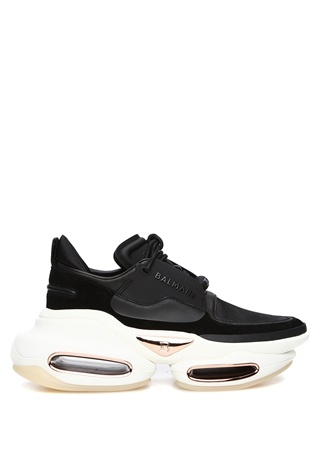 Balmain Kadın Siyah Beyaz Logolu Deri Sneaker 40 EU